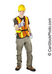 feliz, trabajador construcción, actuación, pulgares arriba