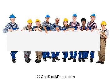feliz, trabajadores construcción, tenencia, blanco, cartelera