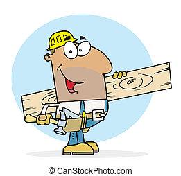 feliz, trabalhador, homem, hispânico