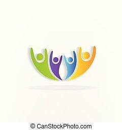 feliz, trabalho equipe, logotipo