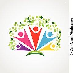 feliz, trabalho equipe, pessoas, árvore, logotipo