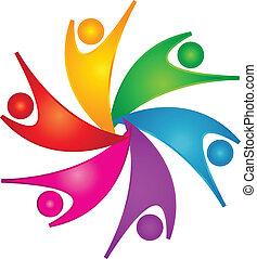 feliz, trabalho equipe, pessoas, logotipo