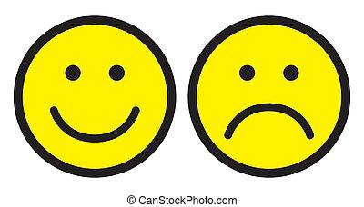 feliz, triste, icons., rosto