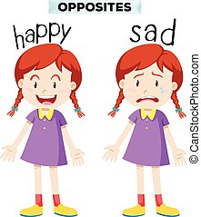 feliz, triste, palavras, oposta