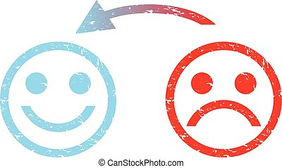 feliz, triste, rosto