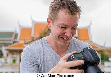 feliz, turista, verificar, budista, contra, cara, bangkok, ...