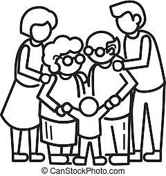 feliz, unido, familia , concepto, plano de fondo, contorno, estilo