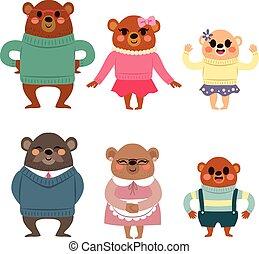 feliz, urso, família