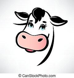 feliz, vaca, retrato, contorneado, vector, símbolo