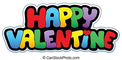feliz, valentine, caricatura, señal