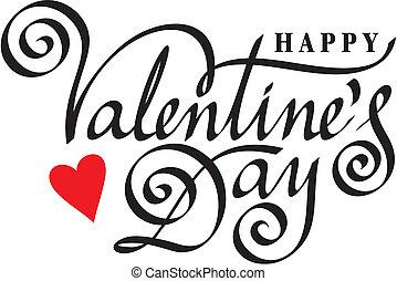 feliz, valentine, día, mano, letras