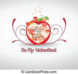 feliz, valentine, saudações, com, appl