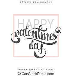 feliz, valentines, day., cor-de-rosa, frase, handmade., elegante, modernos, caligrafia