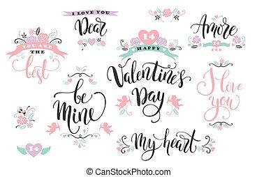 feliz, valentines, day., jogo, de, mão, desenhado, inscriptions.