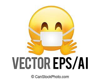feliz, vector, abrazar, amarillo, icono, cara, manos, smiley, máscara