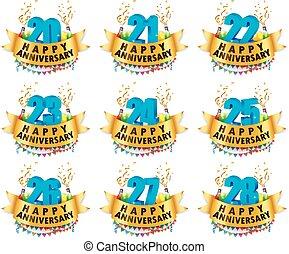 feliz, vector, aniversario, conjuntos, ilustración, celebración