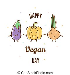 feliz, vegan, day., vetorial, illustration.
