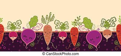 feliz, vegetais raiz, horizontais, seamless, padrão, fundo