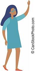 feliz, vestido, brazo up, azul, mujer, logro, levantar, victoria, ella, concepto, celebrar, éxito