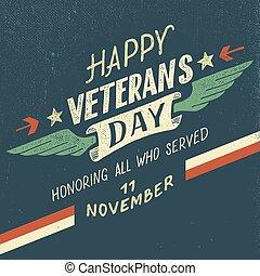 feliz, veterans, desi, tipográfico, dia