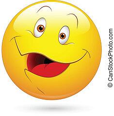 feliz, vetorial, smiley enfrentam
