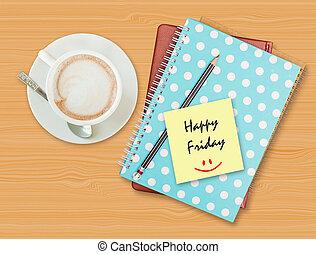 feliz, viernes, y, sonrisa, en, blanco, papel, con, taza...