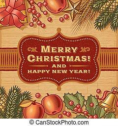 feliz, vindima, cartão natal