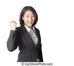 feliz, winner., sucesso, mulher negócio