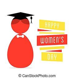 feliz, womens, dia, desenho