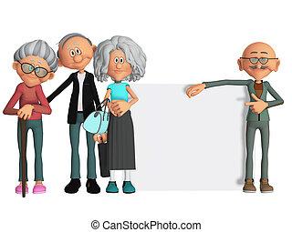 feliz, y, motivado, ancianos, con, cartel, 3d
