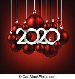 feliz, year., novo, feriado, vermelho, bolas, ilustração, realístico, 2020, natal, numbers.