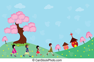 feliz, yendo, niños, iglesia