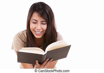 felizmente, livro, leitura, femininas, jovem