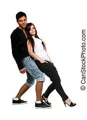 felizmente, par, jovem, dançar