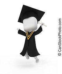 felizmente, pular, graduado