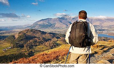 Fell walking in the Lake District - Fell walking on catbells...
