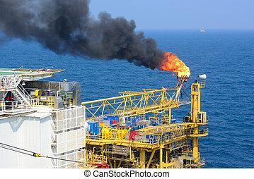 fellobbanás, olaj, gáz, part felől, ruha