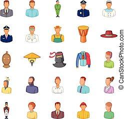 Fellow icons set, cartoon style