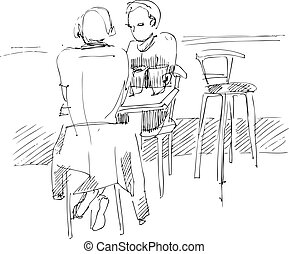 fellow with a girl at the table in a cafe