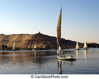 Fellukahs on Nile - Feluka boats near Aswan