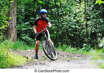 felmegy, bicikli, ember, külső