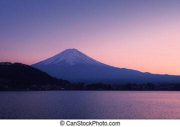felmegy fuji, noha, a, csendes, tó kawaguchi, -ban, napnyugta