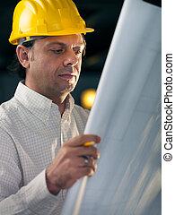 felnőtt, üzletember, dolgozó, mint, konstruál, birtok, tervrajz