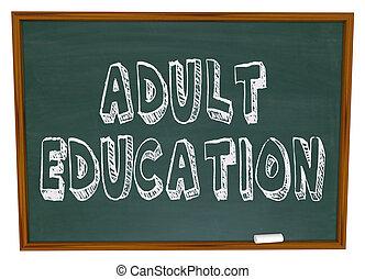 felnőtt oktatás, -, chalkboard