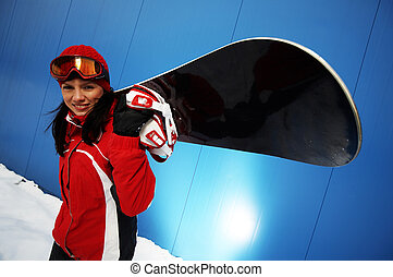 felnőtt, snowboarder, női, fiatal