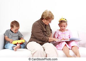 felolvasás, és, játék, noha, nagymama