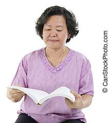 felolvasás, idősebb ember, könyv, felnőtt, nő
