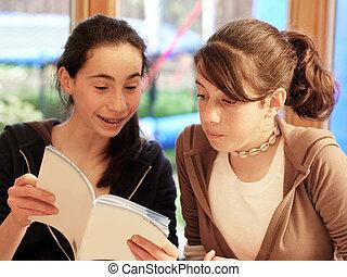 felolvasás, lány, könyv