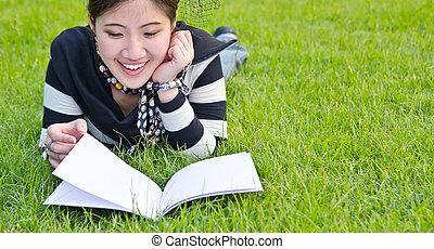 felolvasás, nő, jegyzetfüzet, ázsiai