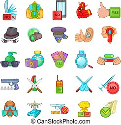 Felon icons set, cartoon style - Felon icons set. Cartoon ...